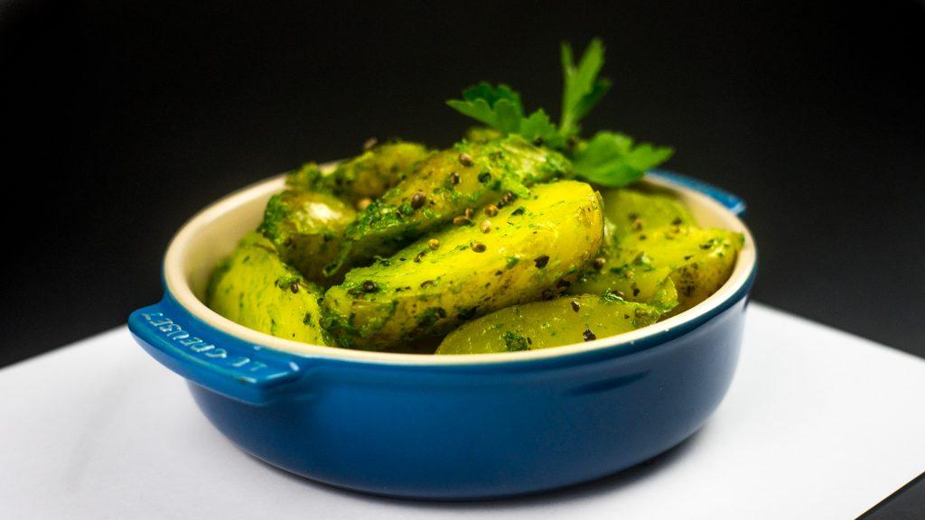 Pesto-Kartoffeln mit Hanfsamen