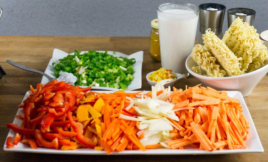 Zutaten Kokosnuss-Curry-Suppe